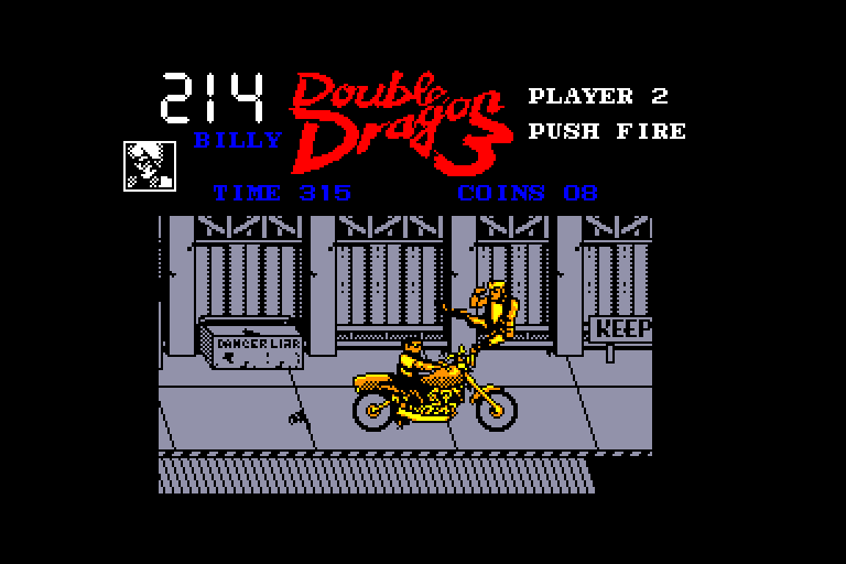 screenshot of the Amstrad CPC game Double Dragon III - The Rosetta Stone by GameBase CPC