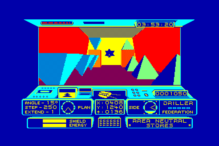 screenshot of the Amstrad CPC game Driller by GameBase CPC