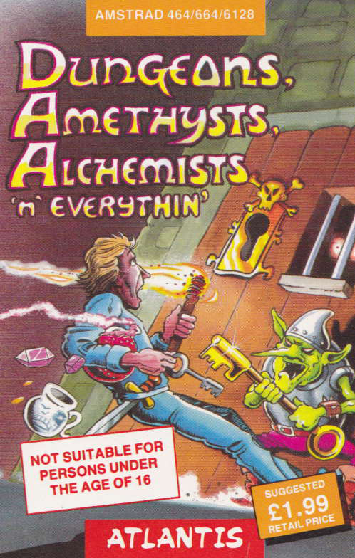 screenshot of the Amstrad CPC game Dungeons, Amethysts, Alchemists 'n' Everythin' by GameBase CPC