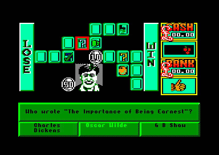 screenshot of the Amstrad CPC game Emlyn hughes arcade quiz by GameBase CPC