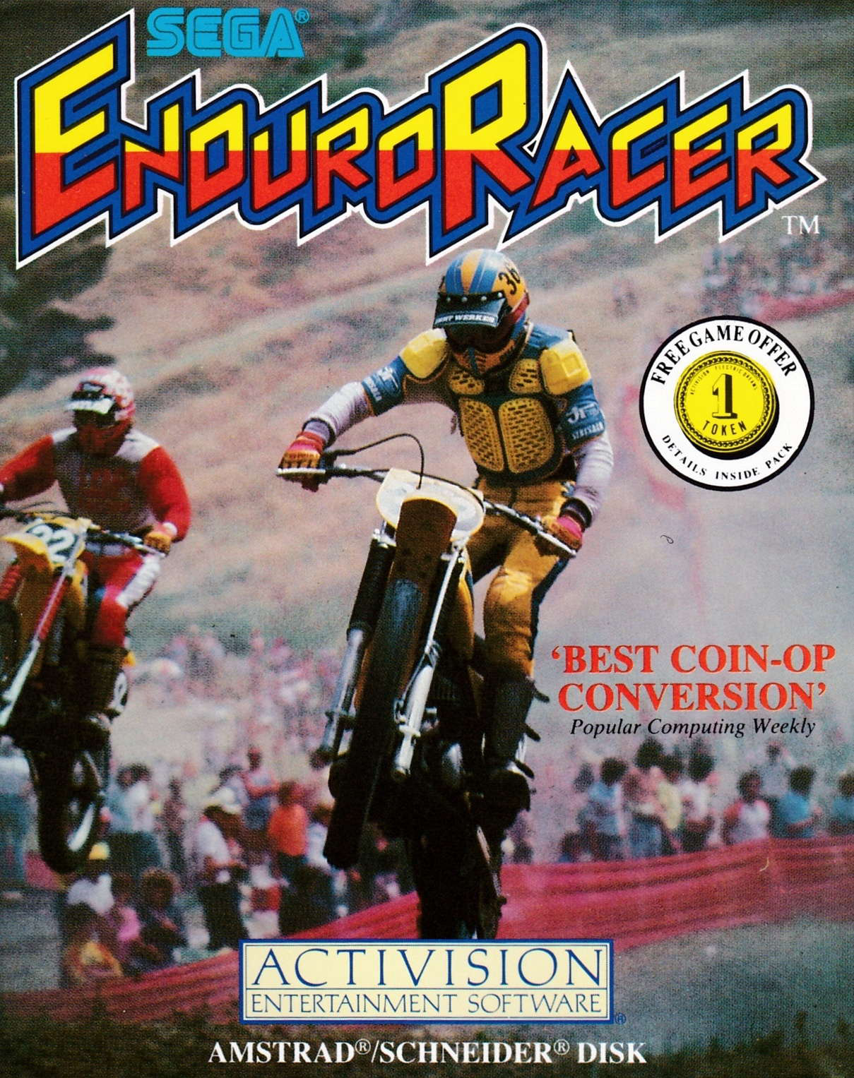 screenshot of the Amstrad CPC game Enduro Racer by GameBase CPC