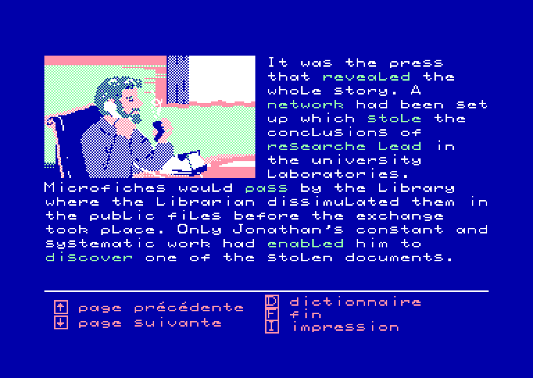 screenshot of the Amstrad CPC game Enigme a oxford by GameBase CPC