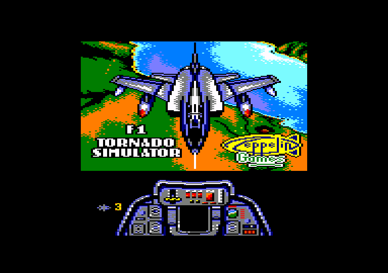 screenshot of the Amstrad CPC game F1 tornado simulator by GameBase CPC