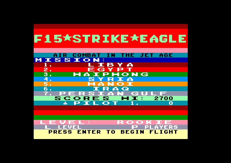screenshot of the Amstrad CPC game F15 strike eagle by GameBase CPC