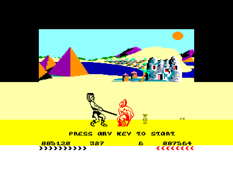 screenshot of the Amstrad CPC game Fighting warrior by GameBase CPC