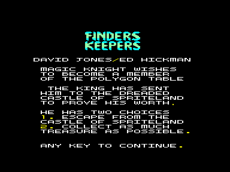 screenshot of the Amstrad CPC game Finders keepers by GameBase CPC