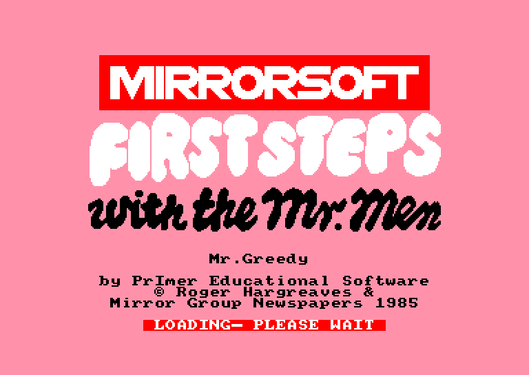 screenshot of the Amstrad CPC game First Steps with the Mr. Men by GameBase CPC