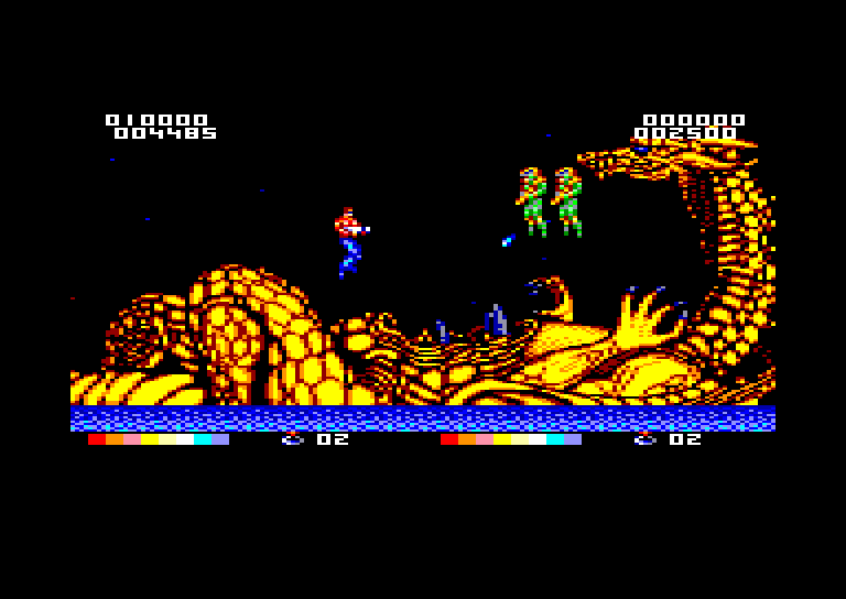 screenshot of the Amstrad CPC game Forgotten worlds by GameBase CPC