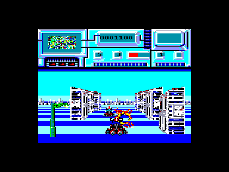 screenshot of the Amstrad CPC game Future Bike Simulator by GameBase CPC