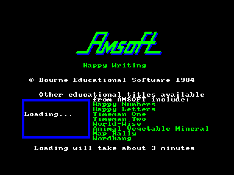 screenshot of the Amstrad CPC game Happy writing by GameBase CPC