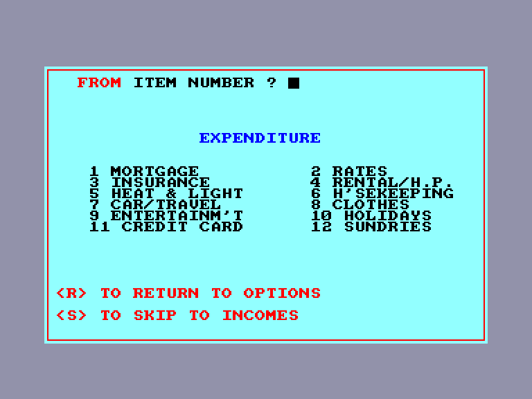 screenshot of the Amstrad CPC game Home Budget by GameBase CPC