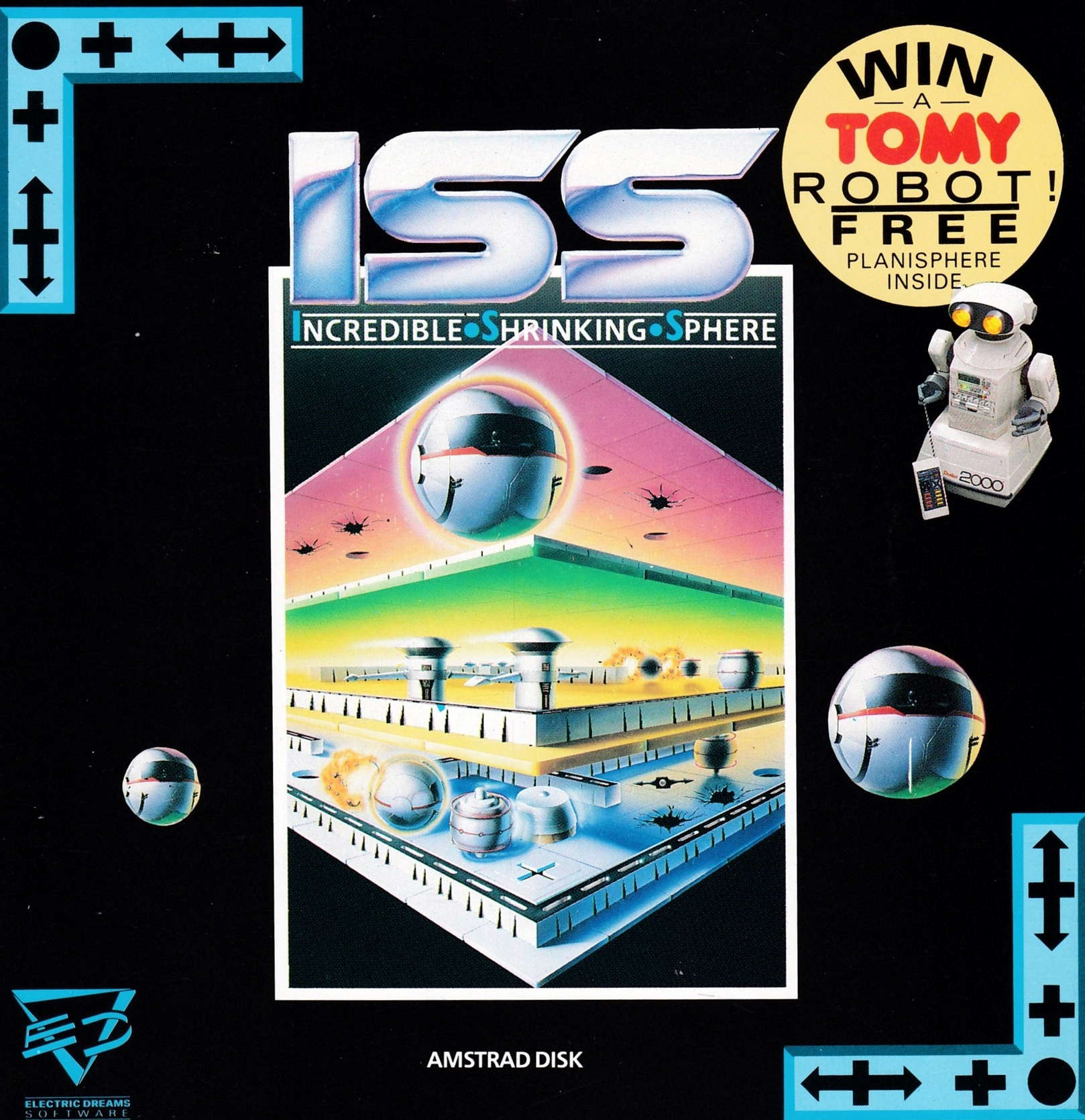 screenshot of the Amstrad CPC game I.S.S. - Incredible Shrinking Sphere by GameBase CPC