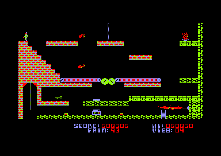 screenshot of the Amstrad CPC game Infernal Runner by GameBase CPC