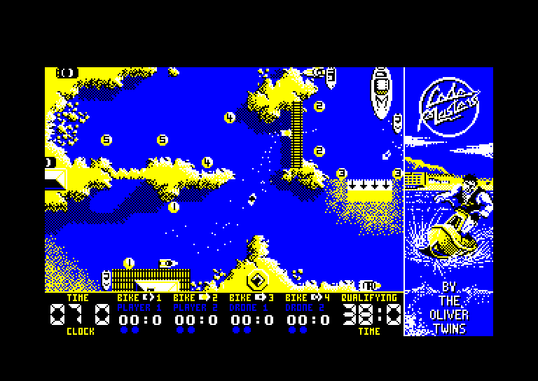 screenshot of the Amstrad CPC game Jet bike simulator by GameBase CPC