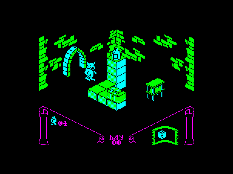 screenshot of the Amstrad CPC game Knight Lore by GameBase CPC