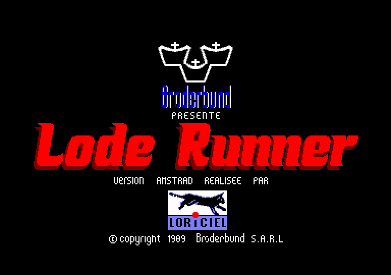 loading screen of the Lode Runner game for Amstrad CPC