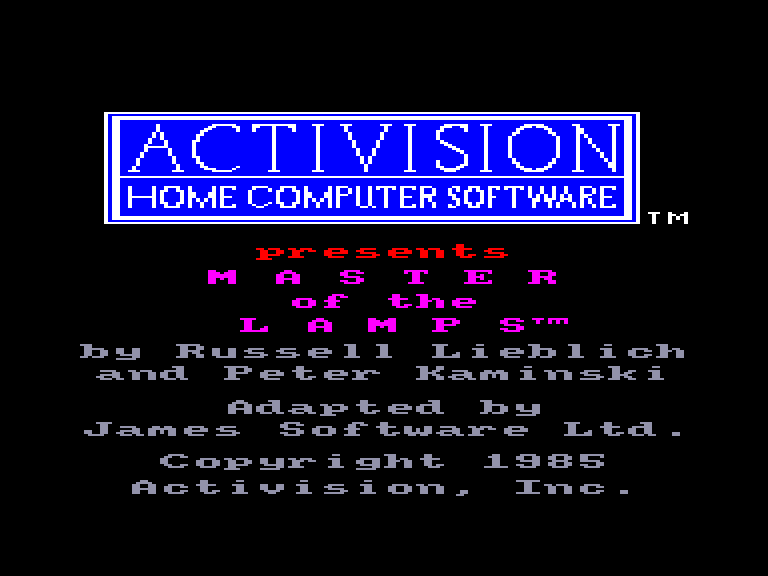 screenshot of the Amstrad CPC game Master of the lamps by GameBase CPC