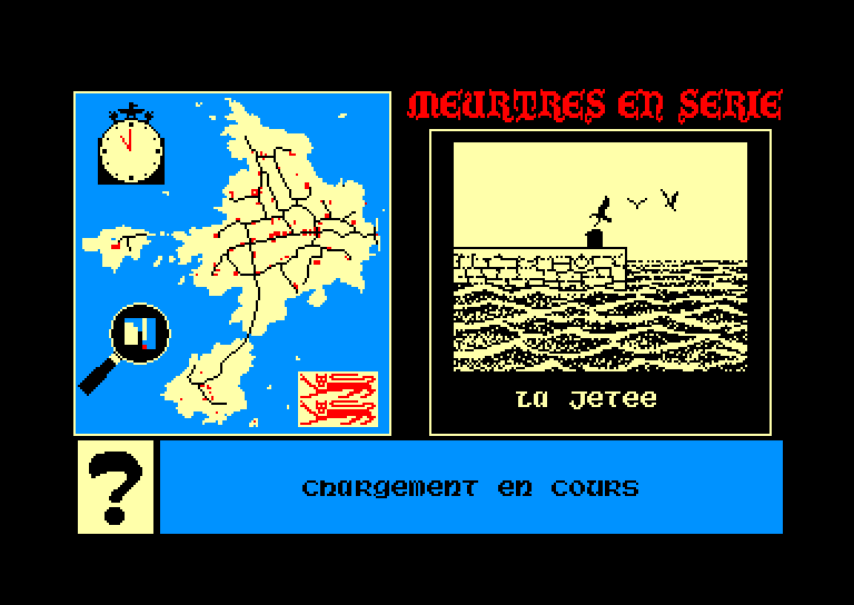 screenshot of the Amstrad CPC game Meurtres en serie by GameBase CPC