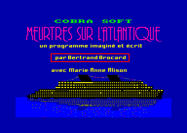 screenshot of the Amstrad CPC game Meurtres sur l'Atlantique by GameBase CPC