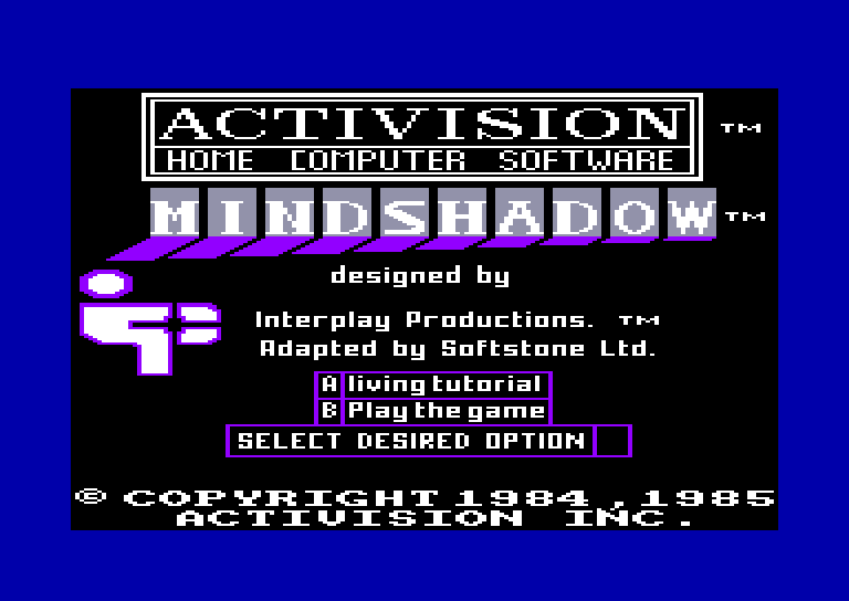 screenshot of the Amstrad CPC game Mindshadow by GameBase CPC