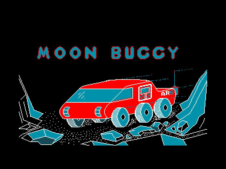 screenshot of the Amstrad CPC game Moon buggy by GameBase CPC