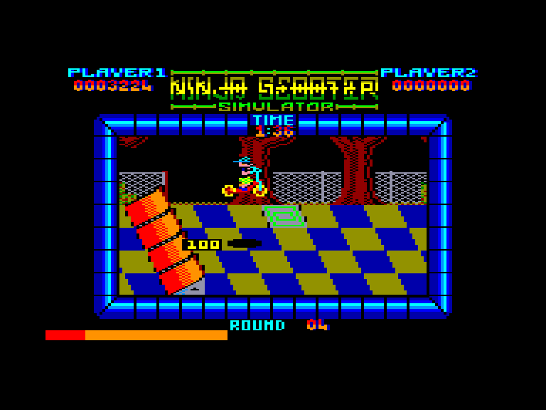 screenshot of the Amstrad CPC game Ninja Scooter Simulator by GameBase CPC