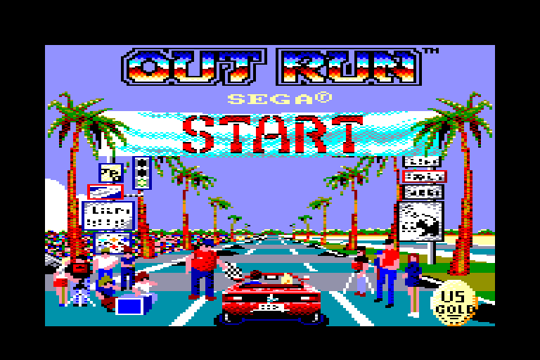 loading screen of the Outrun Amstrad CPC game