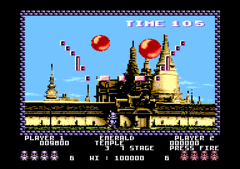 screenshot of the Amstrad CPC game Pang by GameBase CPC