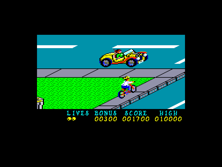 screenshot of the Amstrad CPC game Paperboy by GameBase CPC