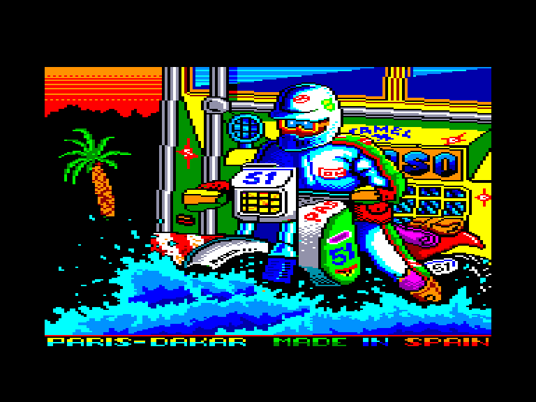 screenshot of the Amstrad CPC game Paris-Dakar by GameBase CPC