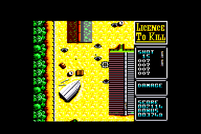 screenshot of the Amstrad CPC game Licence to Kill by GameBase CPC