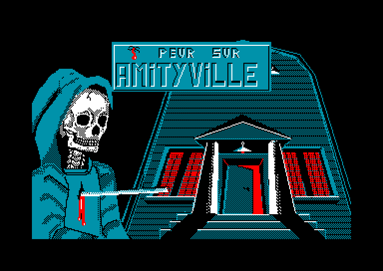 loading screen of the Amstrad CPC game Peur sur Amityville