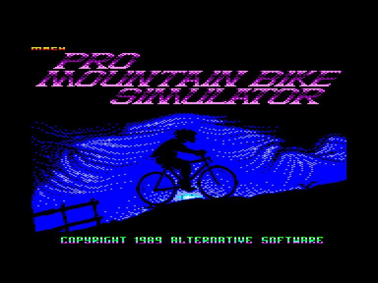 screenshot of the Amstrad CPC game Pro mountain bike simulator by GameBase CPC