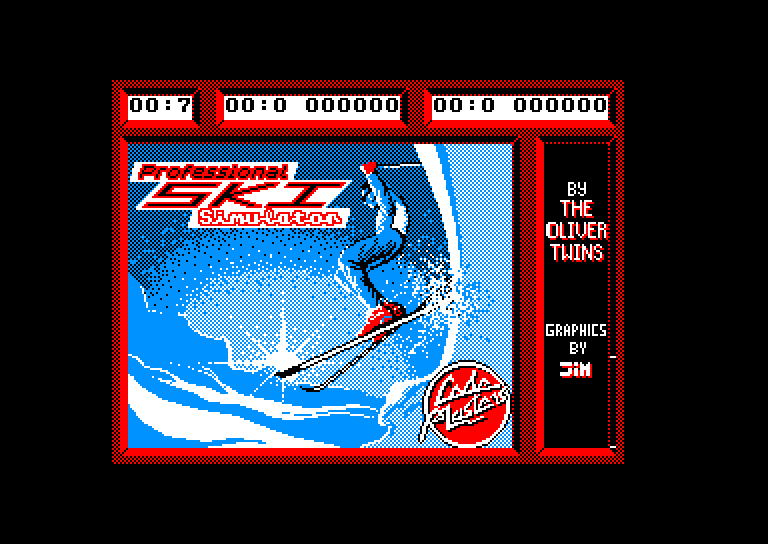 screenshot of the Amstrad CPC game Professional Ski Simulator by GameBase CPC