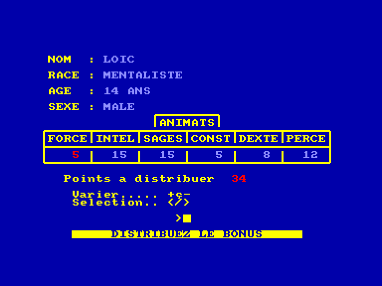 screenshot of the Amstrad CPC game Prophetie - Les Marches de la Galaxie by GameBase CPC