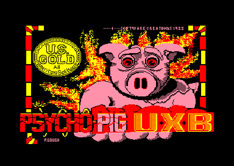 screenshot of the Amstrad CPC game Psycho Pigs UXB by GameBase CPC