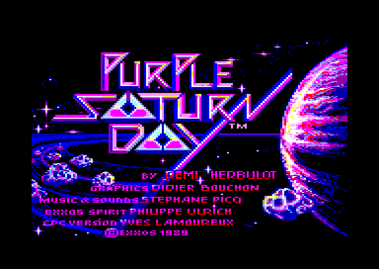 screenshot of the Amstrad CPC game Purple saturn day by GameBase CPC