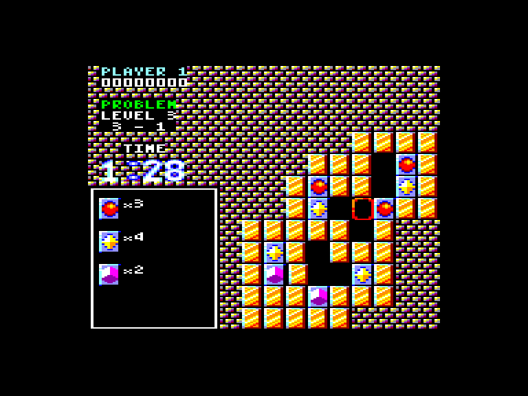 screenshot of the Amstrad CPC game Puzznic by GameBase CPC