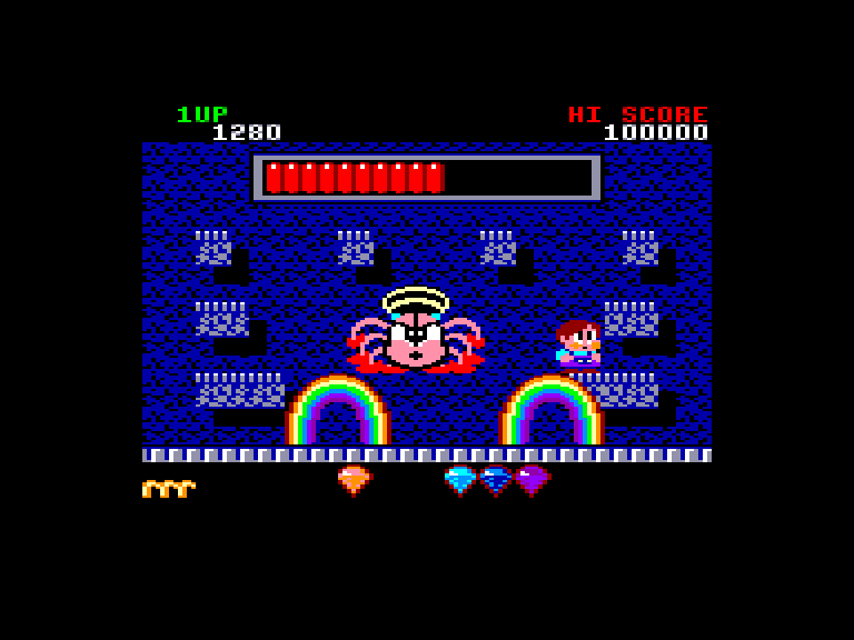 screenshot of the Amstrad CPC game Rainbow Islands by GameBase CPC