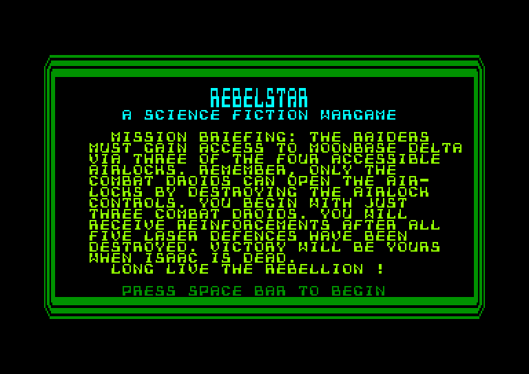 screenshot of the Amstrad CPC game Rebelstar by GameBase CPC