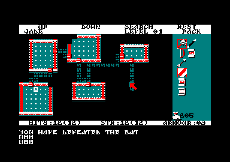 screenshot of the Amstrad CPC game Rogue by GameBase CPC