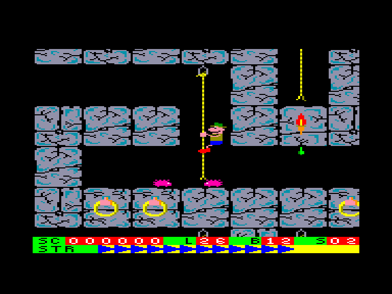 screenshot of the Amstrad CPC game Roland on the Ropes by GameBase CPC
