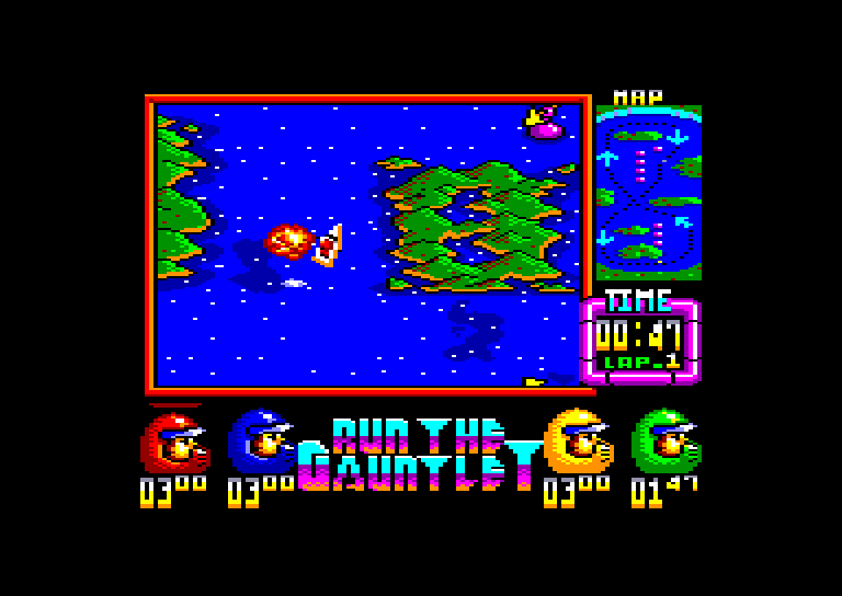screenshot of the Amstrad CPC game Run the gauntlet by GameBase CPC