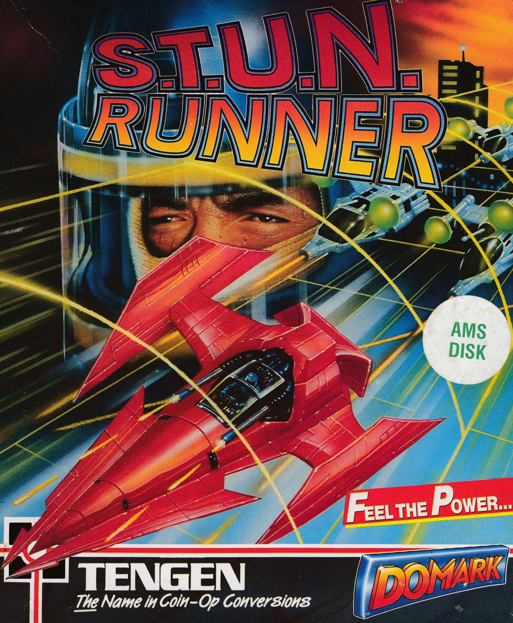 screenshot of the Amstrad CPC game S.T.U.N. Runner by GameBase CPC