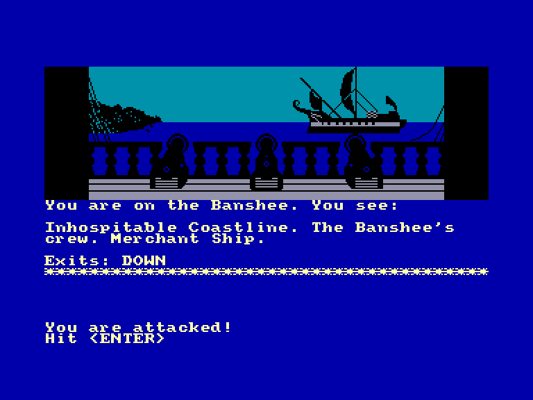 screenshot of the Amstrad CPC game Seas of blood by GameBase CPC