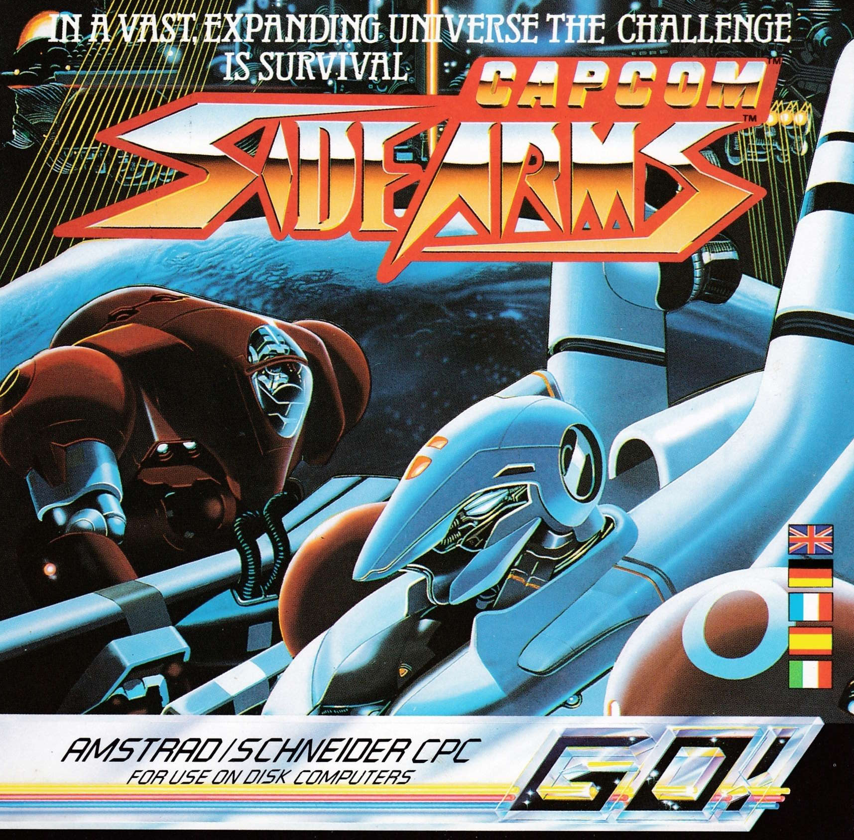 cover of the Amstrad CPC game Side Arms  by GameBase CPC
