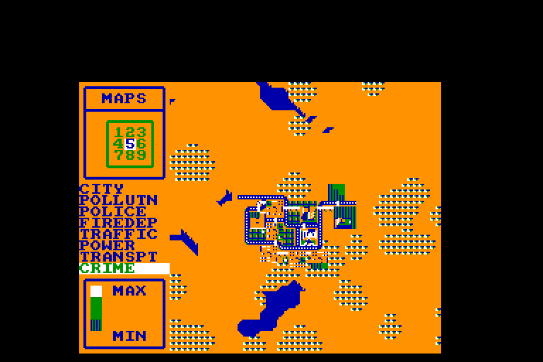 screenshot of the Amstrad CPC game Sim City by GameBase CPC