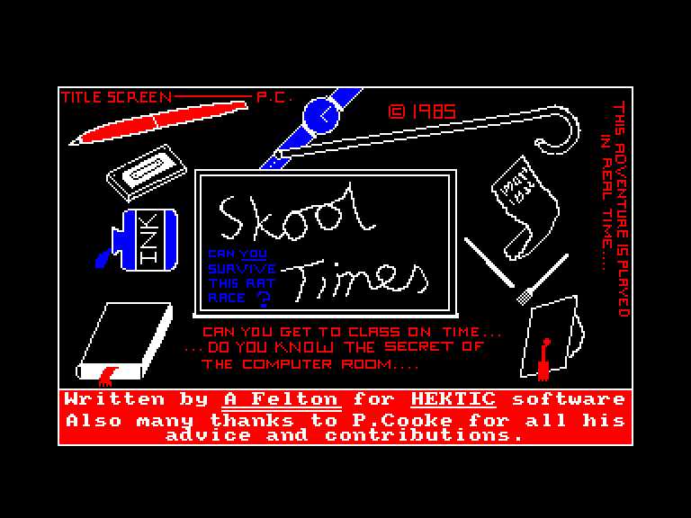 screenshot of the Amstrad CPC game Skool times by GameBase CPC