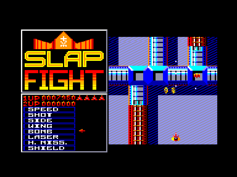 screenshot of the Amstrad CPC game Slap fight by GameBase CPC