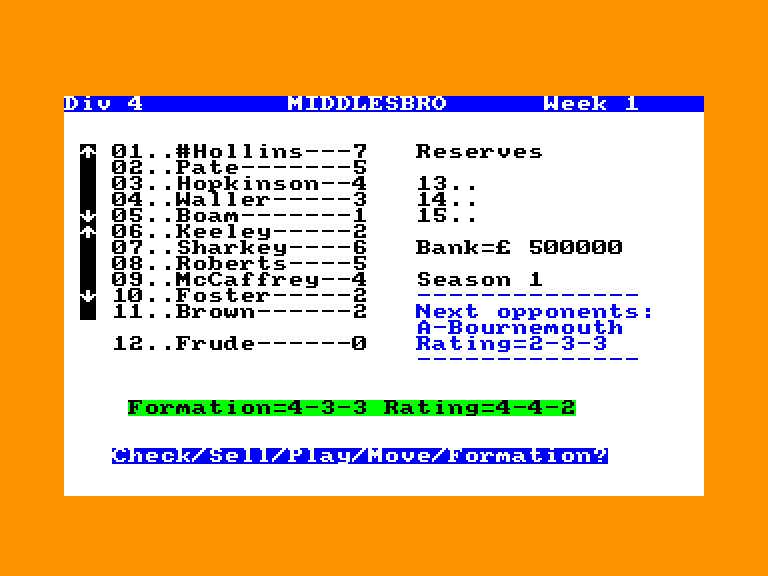 screenshot of the Amstrad CPC game Soccer boss by GameBase CPC